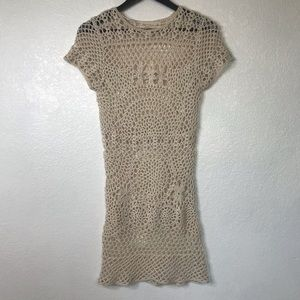 Zara   Knit Cream Crochet Dress